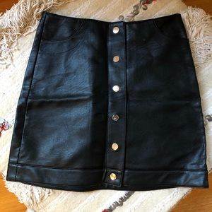 Topshop leather button up skirt